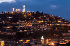 Quito Ecuador Hill. View of houses and bicentennial decorations on a hill in Quito, Ecuador Stock Image