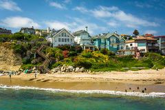 View of houses on bluffs above the beach  Stock Photos