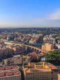 View houses and bridges of Rome. From the dome of St. Peter Stock Image