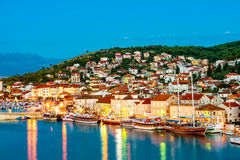 View of Houses and buildings on Trogir waterfront stock photo