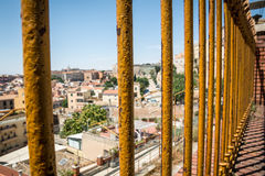 View at houses of Cagliari, Sardinia from above through the fence Royalty Free Stock Image
