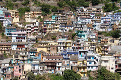 View of the houses in the city Devprayag. Uttarakhand, India. Royalty Free Stock Photography