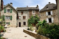 Cobbled street in the town of Chaudes-Aigues