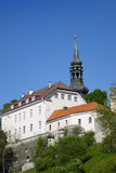 View of houses on the hill Toompea hill and St.Mary Church. Old city, Tallinn, Estonia Royalty Free Stock Images