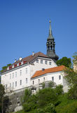 View of houses on the hill Toompea hill and St.Mary Church. Old city, Tallinn, Estonia Stock Image