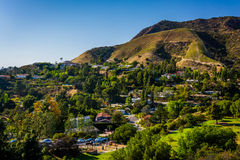 View of houses and hills in Hollywood from Canyon Lake Drive in Stock Photography
