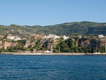 View of houses and hotels on the cliffs in Sorrento. Gulf of Naples, Campania,. Italy royalty free stock photos