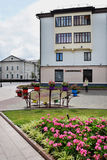 View of houses and lawn in the center of Grodno Stock Photography