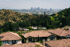View of houses and the Los Angeles Skyline from Mulholland Drive Royalty Free Stock Photography