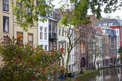 View at houses near canal in Utrecht Stock Photography
