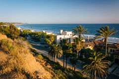 View of the houses and the Pacific Coast, in Malibu, California. Stock Image