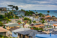 View of houses and the Pacific Ocean in Corona del Mar  Stock Photos