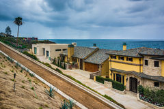 View of houses and the Pacific Ocean in Corona del Mar  Stock Photo