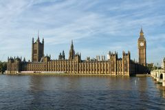 View of The Houses of Parliament from south side of river Thames royalty free stock photos