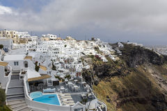 View of houses and picturesque in Santorini island, Aegean sea Stock Photos