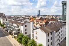 View of the houses from Poelart Place in Bruxelles. (Belgium royalty free stock photography