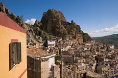 View of houses rocky of village in Sicily royalty free stock image