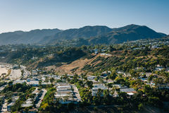 View of houses and the Santa Monica Mountains in Pacific Palisad Stock Photo