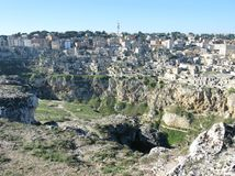 A view at houses in the Sassi of Matera Royalty Free Stock Image