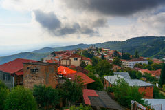 View of houses in Signagi or Sighnaghi city. Georgia Royalty Free Stock Photos