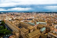 View with Houses and Streets of Rome in Italy. At cloudy weather royalty free stock photography