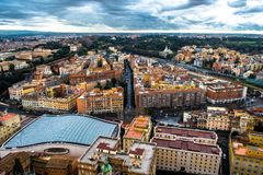 View with Houses and Streets of Rome in Italy. At cloudy weather stock image