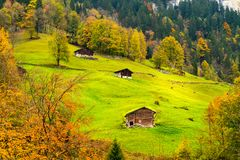View of houses at Swiss Alps in autumn Royalty Free Stock Photo