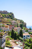 View of houses in Taormina city is Sicily Royalty Free Stock Image