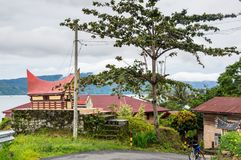 View of houses of village Tuktuk on island Samosir Royalty Free Stock Image