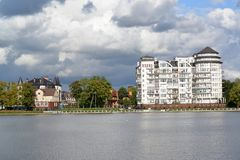 View of a housing estate and embankment of the Top lake. Kaliningrad royalty free stock image
