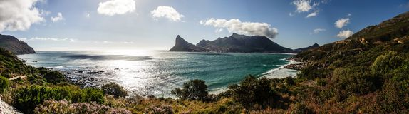 The view of Hout bay from Chapmans Peak stock images