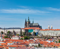 View of Hradchany: the Saint Vitus (St. Vitt's) Cathedral and Pr Stock Photo
