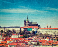 View of Hradchany: the Saint Vitus (St. Vitt's) Cathedral and Pr. Vintage retro hipster style travel image of  Hradchany: the Saint Vitus (St. Vitt's) Cathedral Royalty Free Stock Photos