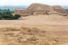 View of Huaca del Sol. View of the ancient pyramid known as the Huaca del Sol in Trujillo, Peru stock photography