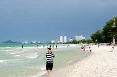 View of HUAHIN beach. Most popular beach in Thailand Stock Images