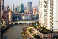 View of Huangpu district and Wusong river. Shanghai, China - November 26, 2008: View of Huangpu district and Wusong river at Downtown Stock Photography