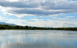 View of Huay Tueng Tao lake in Chiang Mai, Thailand Royalty Free Stock Image