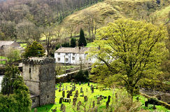 View of Hubberholme in the Yorkshire Dales. View of Hubberholme, a village in Upper Wharfdale in the Yorkshire Dales, England, with the historic church of St Stock Images