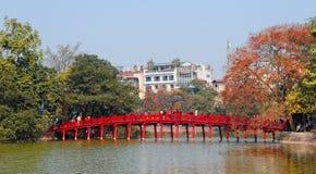 View of The Huc bridge with Hoan Kiem lake in Hanoi, Vietnam Royalty Free Stock Photography