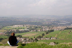 View of Huddersfield. Huddersfield is a large town near the confluence of the River Colne and the River Holme. It is in the Metropolitan Borough of Kirklees in Stock Photo