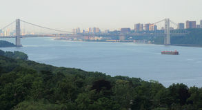 View on Hudson river. Washington bridge and Manhattan from Bronx Stock Photo