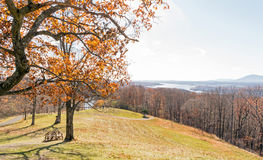 View of Hudson River, mountains and sky from hill Royalty Free Stock Image