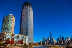 Hudson River Waterfront Walkway in Jersey City, United States. View from Hudson River Waterfront Walkway in Jersey City, United States Royalty Free Stock Photo