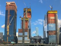 Hudson Yards - New York City. View of the Hudson Yards train depot and building development seen from the High Line, an elevated green urban park running along Royalty Free Stock Image