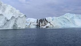 View of the huge icebergs in Greenland stock footage