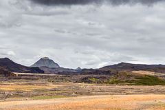 View on a huge mountain in Iceland with dramatic sky Royalty Free Stock Photos