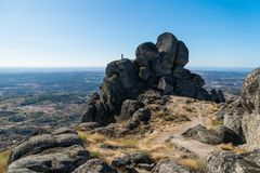 View of the huge rocks at the Wall of the Castle of Monsanto, Po. Rtugal Stock Image
