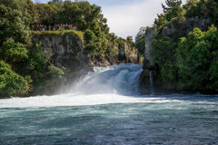 A view of Huka Falls from a river cruise boat Stock Photos