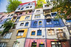 The view of Hundertwasser house in Vienna Stock Photo