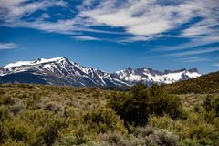 View of The Hunewill Ranch Near Bridgeport, California in late spring. View of the Hunewill Ranch at the base of the Eastern Sierra Nevada Mountain Range near stock photo